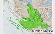 Political 3D Map of Zadar-Knin, lighten, semi-desaturated