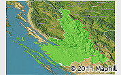 Political 3D Map of Zadar-Knin, satellite outside