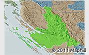 Political 3D Map of Zadar-Knin, semi-desaturated