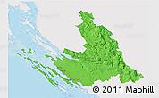 Political 3D Map of Zadar-Knin, single color outside