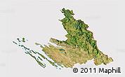 Satellite 3D Map of Zadar-Knin, cropped outside