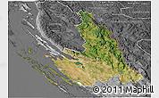 Satellite 3D Map of Zadar-Knin, desaturated