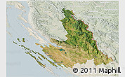 Satellite 3D Map of Zadar-Knin, lighten