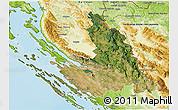 Satellite 3D Map of Zadar-Knin, physical outside