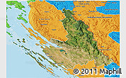 Satellite 3D Map of Zadar-Knin, political outside
