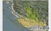 Satellite 3D Map of Zadar-Knin, semi-desaturated