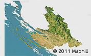 Satellite 3D Map of Zadar-Knin, single color outside
