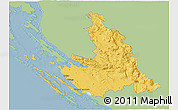 Savanna Style 3D Map of Zadar-Knin, single color outside