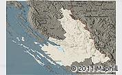 Shaded Relief 3D Map of Zadar-Knin, darken