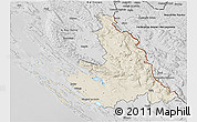 Shaded Relief 3D Map of Zadar-Knin, desaturated