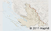 Shaded Relief 3D Map of Zadar-Knin, lighten