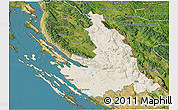 Shaded Relief 3D Map of Zadar-Knin, satellite outside