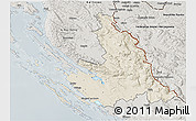 Shaded Relief 3D Map of Zadar-Knin, semi-desaturated