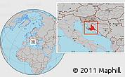 Gray Location Map of Zadar-Knin