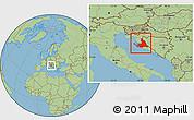 Savanna Style Location Map of Zadar-Knin