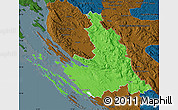 Political Map of Zadar-Knin, darken