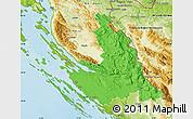Political Map of Zadar-Knin, physical outside