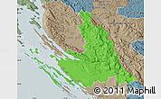 Political Map of Zadar-Knin, semi-desaturated