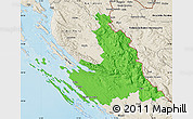 Political Map of Zadar-Knin, shaded relief outside