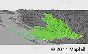 Political Panoramic Map of Zadar-Knin, darken, desaturated
