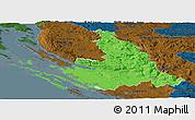 Political Panoramic Map of Zadar-Knin, darken