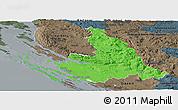 Political Panoramic Map of Zadar-Knin, darken, semi-desaturated