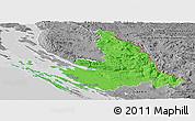 Political Panoramic Map of Zadar-Knin, desaturated