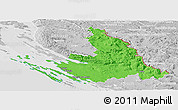 Political Panoramic Map of Zadar-Knin, lighten, desaturated