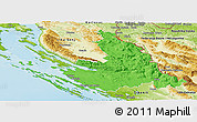 Political Panoramic Map of Zadar-Knin, physical outside