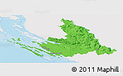Political Panoramic Map of Zadar-Knin, single color outside