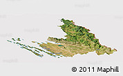 Satellite Panoramic Map of Zadar-Knin, cropped outside