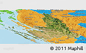 Satellite Panoramic Map of Zadar-Knin, political outside