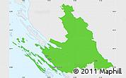 Political Simple Map of Zadar-Knin, single color outside
