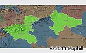 Political 3D Map of Zagreb, darken, semi-desaturated