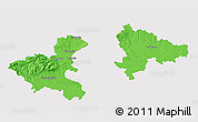 Political 3D Map of Zagreb, single color outside