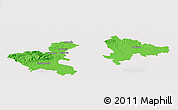 Political Panoramic Map of Zagreb, single color outside