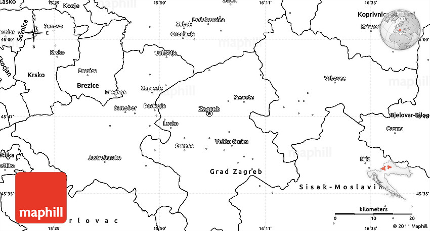 Blank Simple Map Of Zagreb