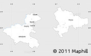 Silver Style Simple Map of Zagreb, single color outside