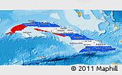 Flag 3D Map of Cuba, political outside