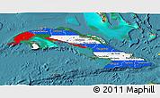 Flag 3D Map of Cuba, satellite outside