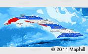 Flag 3D Map of Cuba, single color outside, bathymetry sea