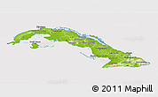 Physical 3D Map of Cuba, cropped outside