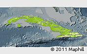 Physical 3D Map of Cuba, darken, semi-desaturated