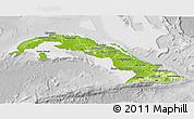 Physical 3D Map of Cuba, lighten, desaturated