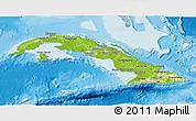 Physical 3D Map of Cuba, lighten, semi-desaturated, land only