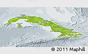 Physical 3D Map of Cuba, lighten, semi-desaturated