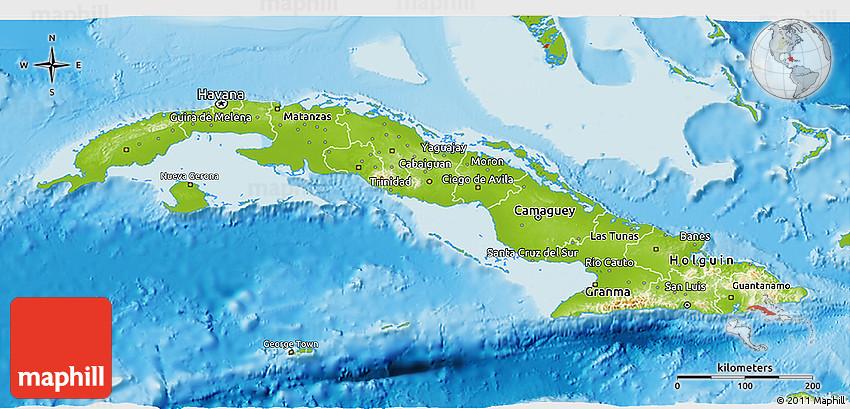 Physical 3D Map of Cuba