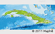 Physical 3D Map of Cuba, political outside, shaded relief sea