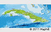 Physical 3D Map of Cuba, political shades outside, shaded relief sea