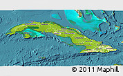 Physical 3D Map of Cuba, satellite outside